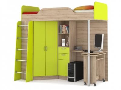 Кровать-чердак со столом Ника 427 Т Лайм Зеленый