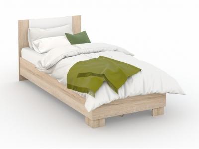 Кровать Аврора 90х200 основание ЛДСП Сонома/белый