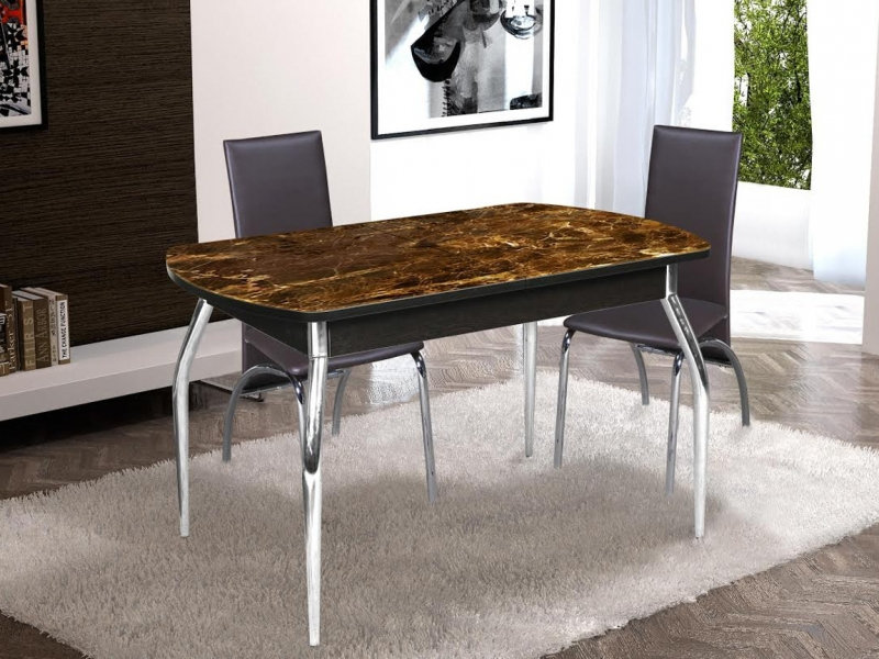 Стол раздвижной со стеклом Грация венге хром