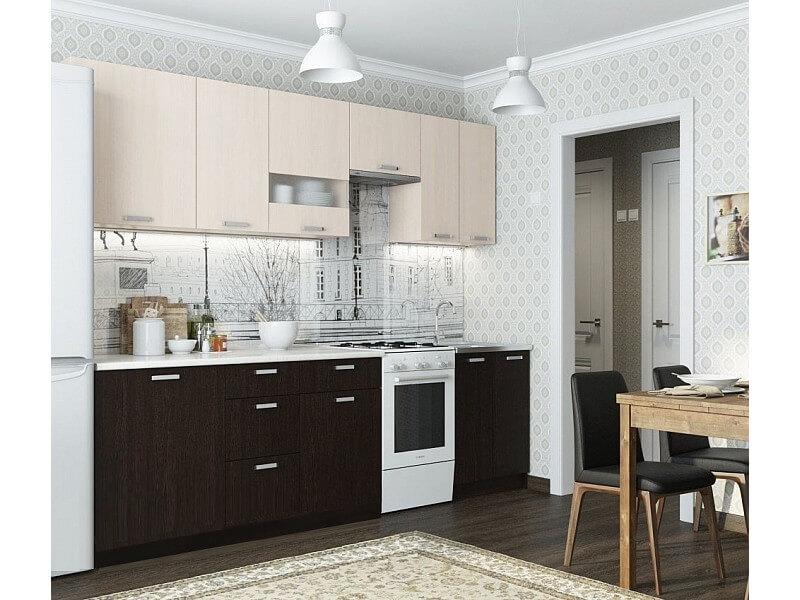 Кухня Розалия с доп. модулями 2100 Дуб Млечный-Дуб Венге