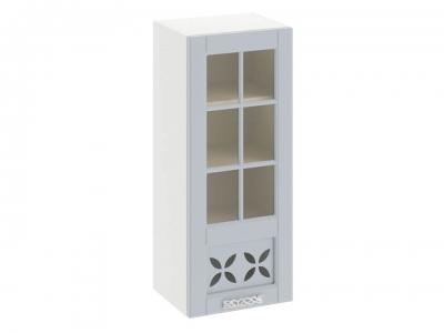 Шкаф навесной cо стеклом и декором правый В_96-45_1ДРДс(R) Скай Голубая
