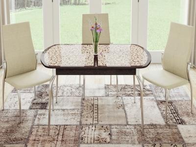 Стол обеденный раздвижной Сидней СМ-219.01.01 Венге, стекло с рисунком