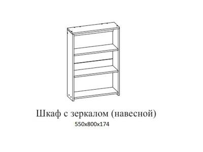 Шкаф с зеркалом навесной Визит 1 550х800х174